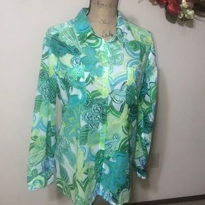 NWT Chico's Blissful Flowers Button Down Shirt